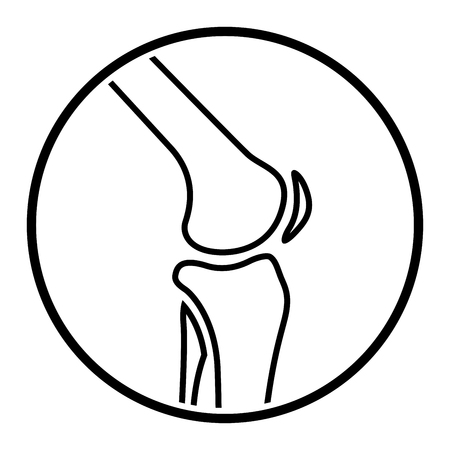 Illustration of joint knee icon on white background.