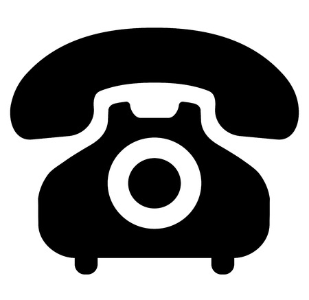 Illustration of wired phone icon on white background.