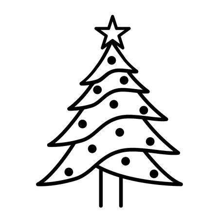 Illustration of Christmas tree icon on white background.