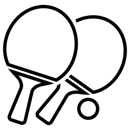Illustration of table tennis icon on white background.
