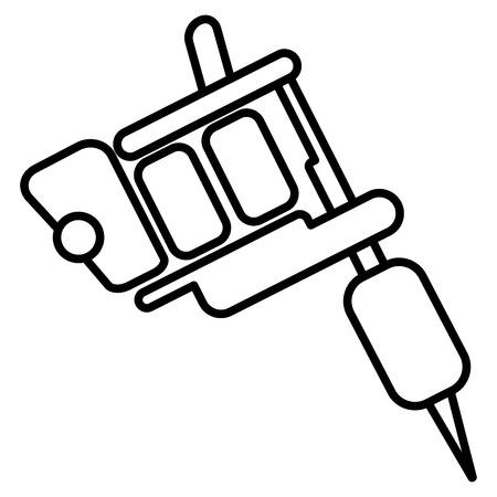 Illustration of tattoo machine icon on white background.