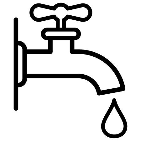 Illustration of faucet icon on white background. Illustration