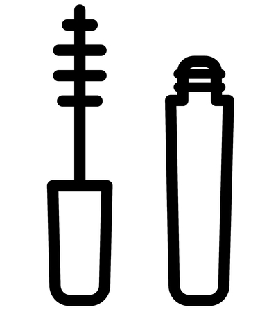 Illustration of mascara icon on white background
