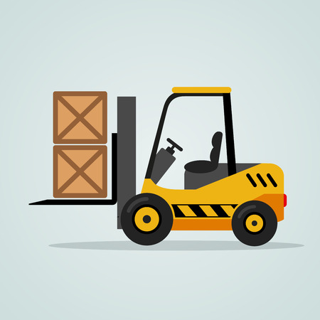 Illustration of yellow forklift on blue background