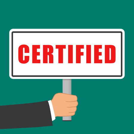 Illustration of certified word sign flat concept Vettoriali