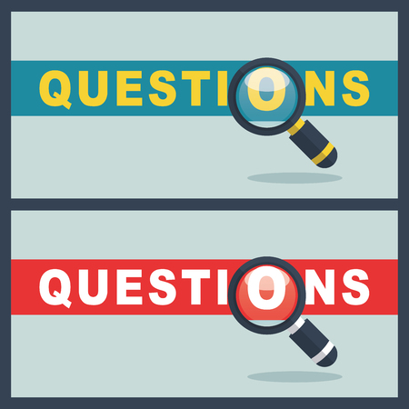 Illustration of questions word with magnifier concept