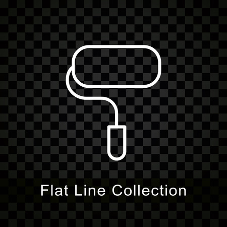 Illustration of paint roller icon on checkered black background
