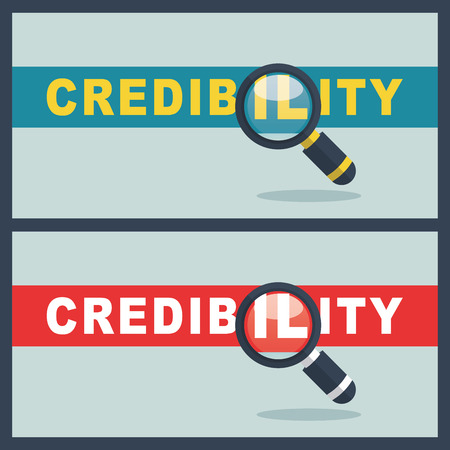 Illustration of credibility word with magnifier concept Illustration