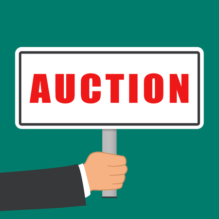 Illustration of auction word sign flat concept