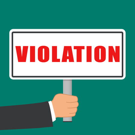 Illustration of violation word sign flat concept.