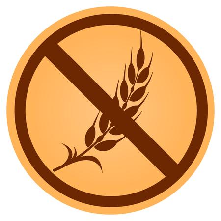 Illustration of prohibited gluten free circle brown icon Vettoriali