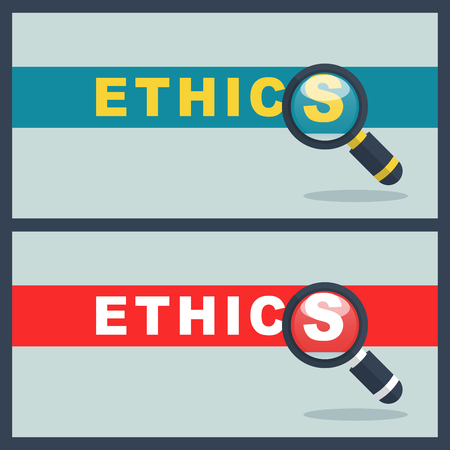 Illustration of ethics word with magnifier concept