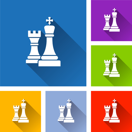 Illustration of chess icons with long shadow