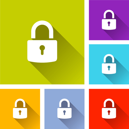 Illustration of padlock icons with long shadow