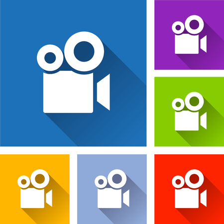 Illustration of camera video icons with shadow Illustration
