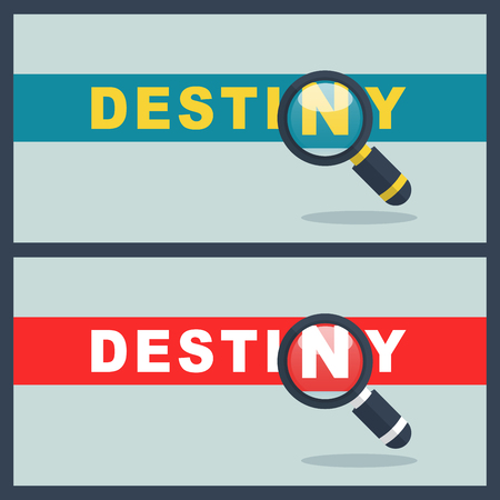 Illustration of destiny word with magnifier concept Illustration