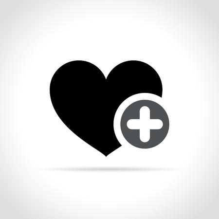 Illustration of heart with plus sign icon