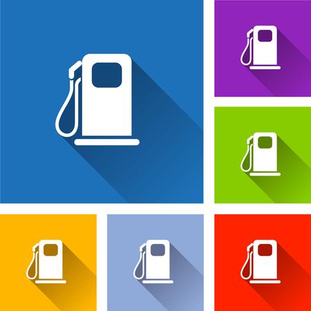 Ilustración de los iconos de la bomba de combustible con sombra
