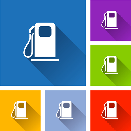 Illustration of fuel pump icons with shadow