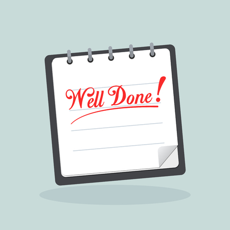 Illustration of well done written on note book