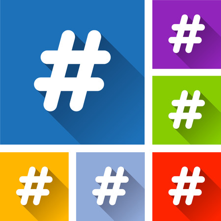 Illustration of hashtag icons with long shadow Illustration