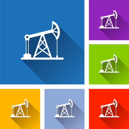 Illustration of oil pump icons with long shadow Illustration