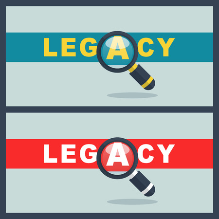 Illustration of legacy word with magnifier concept Illustration