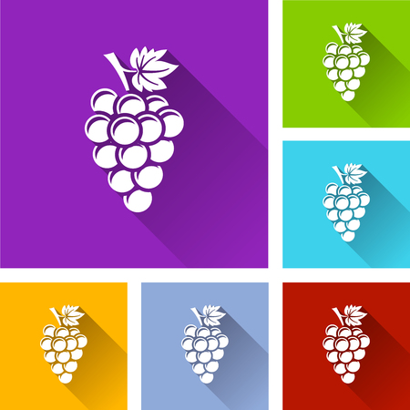 bunch of grapes icons with long shadow
