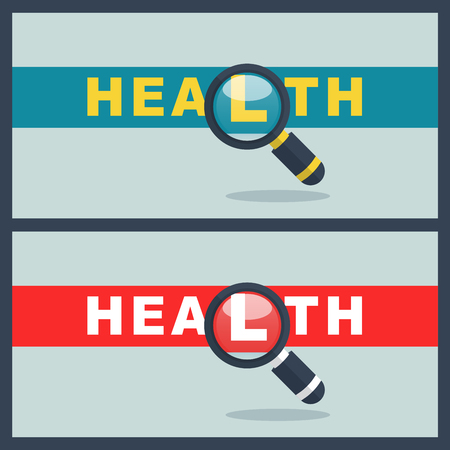 Illustration of health word with magnifier concept