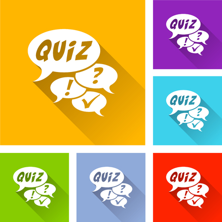 Illustration of quiz icons with long shadow
