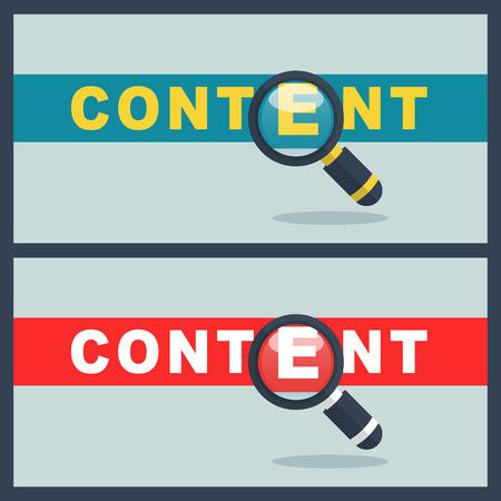 Illustration of content word with magnifier concept Ilustração