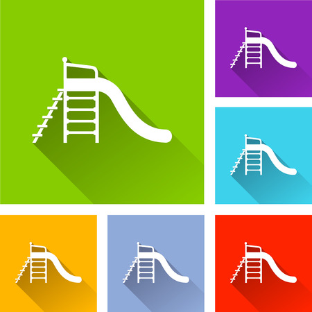 Illustration of kindergarten icons with long shadow Illustration