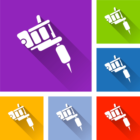Illustration of tattoo machine icons with shadow