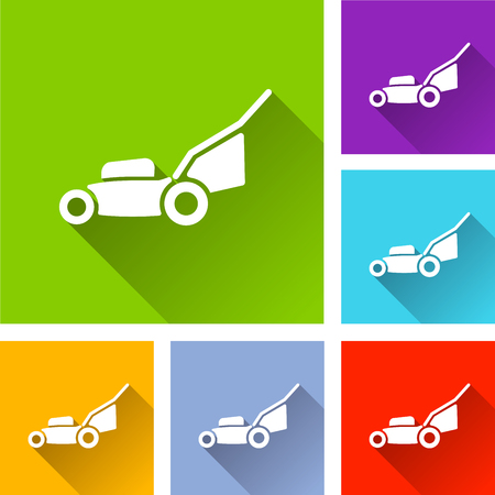 Illustration of lawn mower icons with shadow