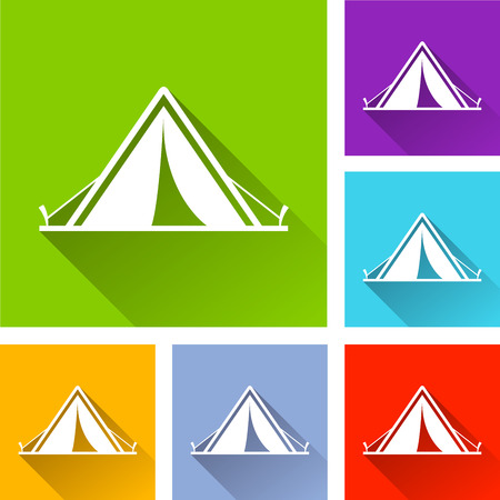 Illustration of tent icons with long shadow Illustration