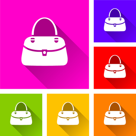 Illustration of bag icons with long shadow Illustration