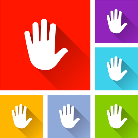 Illustration of hand icons with long shadow
