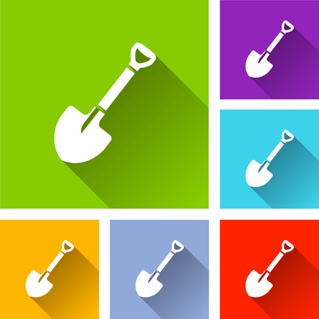 Illustration of shovel icons with long shadow