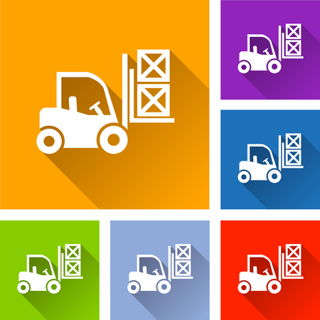 Illustration of fork lift icons with shadow