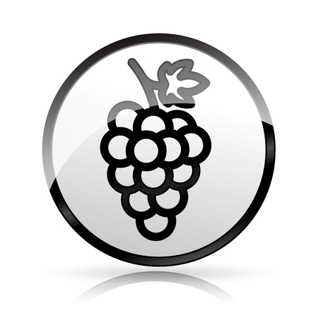 Illustration of grapes icon on white background Ilustração