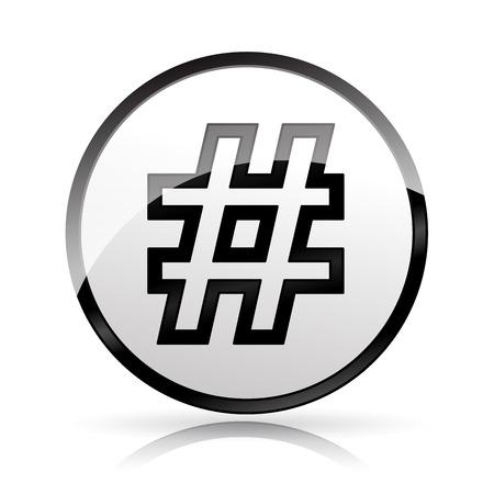 Illustration of hashtag icon on white background