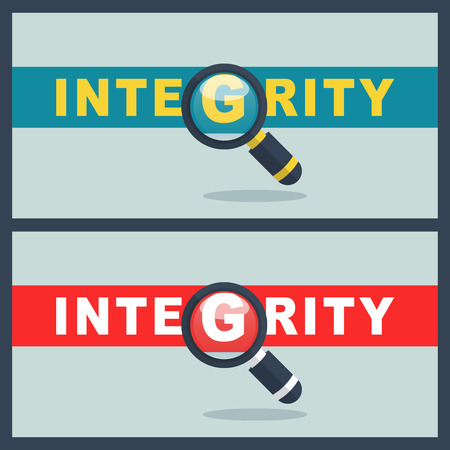 Illustration of integrity word with magnifier concept