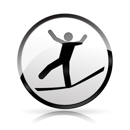 Illustration of slackline icon on white background