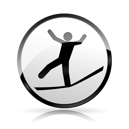 Illustration of slackline icon on white background