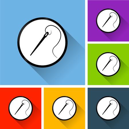 Illustration of needle icons with long shadow Illusztráció