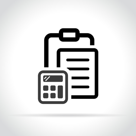 Illustration of clipboard with calculator on white background Иллюстрация