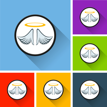 Illustration of angel icons with long shadow Stock Illustratie