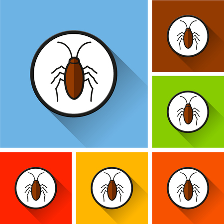 Illustration of cockroach icons with long shadow
