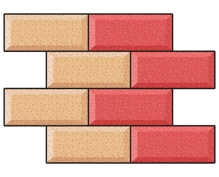 Illustration of two colors bricks background concept.