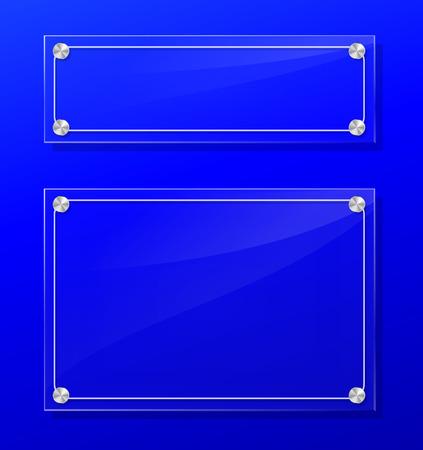 Illustration of transparent frame on blue background. Ilustrace